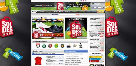 Page d'accueil Made in Sport : le site est complètement habillé pour l'opération. Le backgroung, le header et plusieurs vignettes indiquent de nombreux produits soldés.