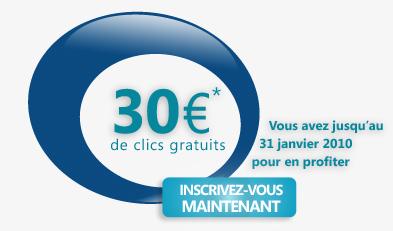 Le code pour obtenir les 30 euros se trouve sur la page de présentation. Il ne faudra pas oublier de valider ce code pendant l'inscription